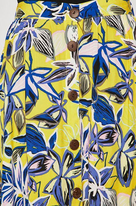 Spódnica damska zapinana na guziki żółta