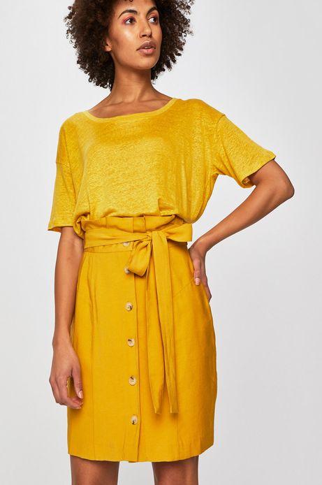 Spódnica damska z podwyższonym stanem żółta