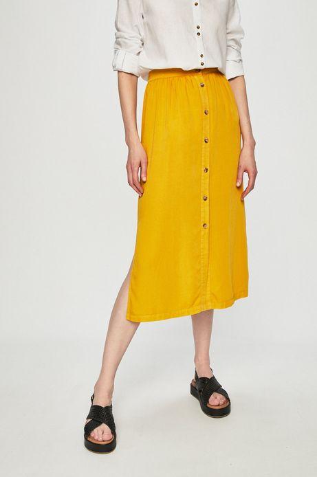 Spódnica damska z podwyższoną talią żółta