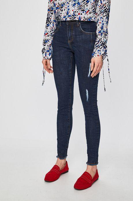 Jeansy damskie z wystrzępionymi nogawkami granatowe