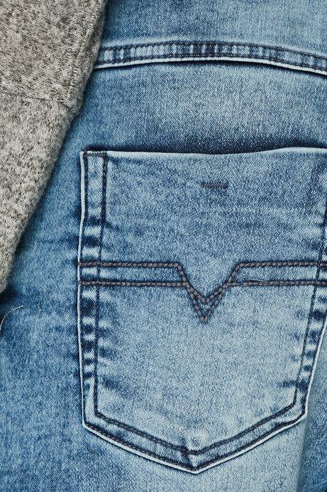 Jeansy damskie z troczkami niebieskie