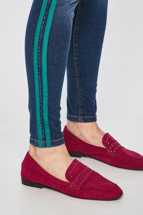 Jeansy damskie skinny z lampasami niebieskie