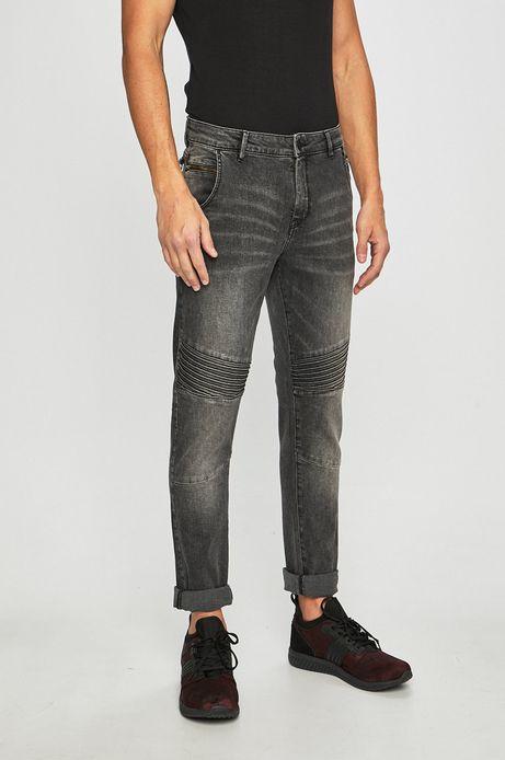 Jeansy męskie z ozdobnymi przeszyciami czarne