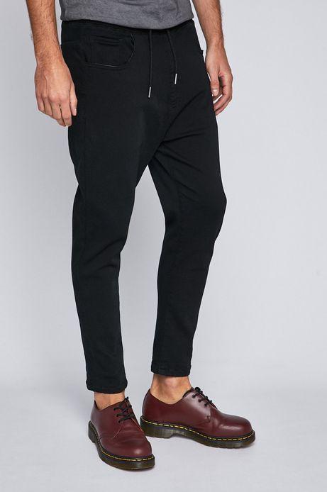 Jeansy męskie z troczkami w pasie czarne
