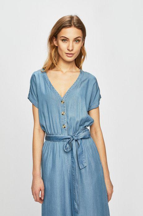 Kombinezon damski wiązany w talii niebieski