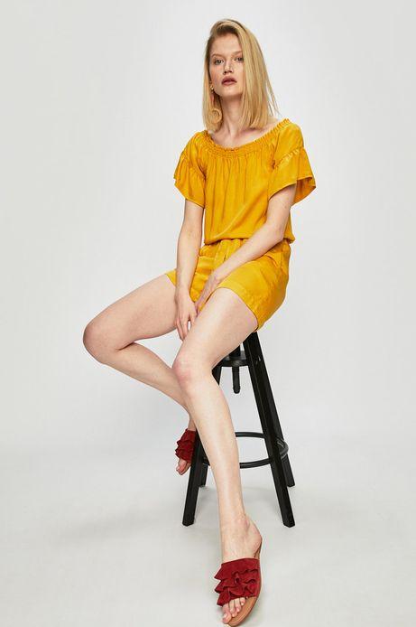 Kombinezon damski z dekoltem typu łódka żółty