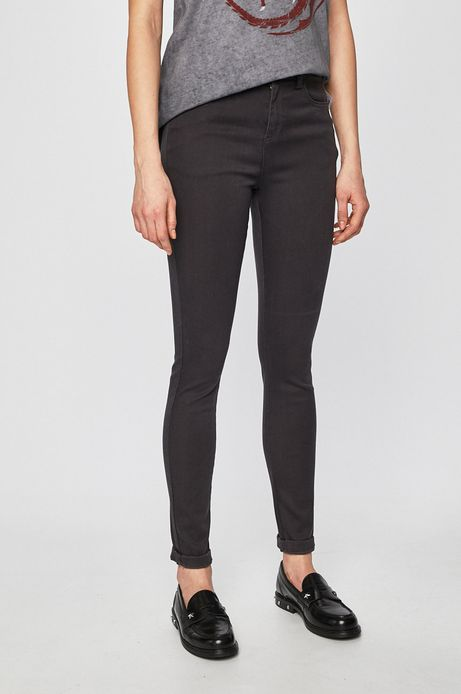 Spodnie damskie gładkie szare