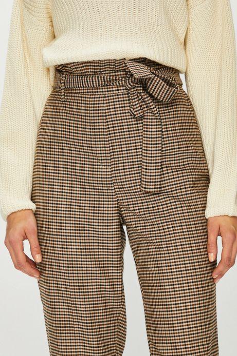 Spodnie damskie z podwyższonym stanem w kratkę
