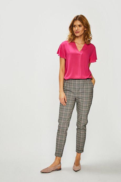 Spodnie damskie z lamówką w kratkę