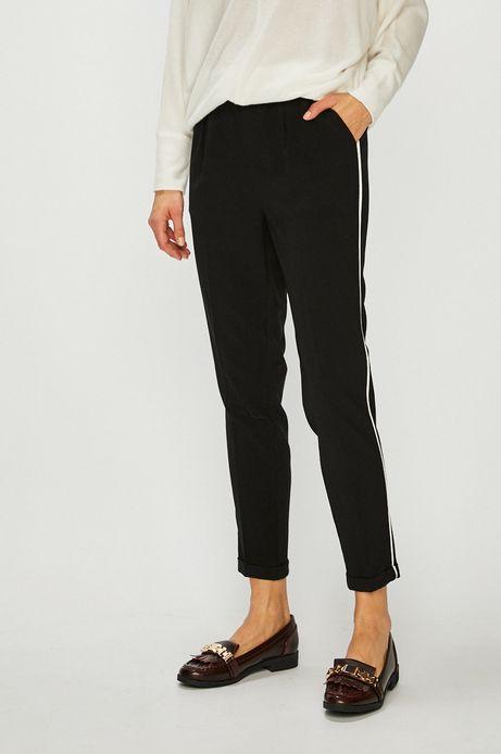 Spodnie damskie z lamówką czarne