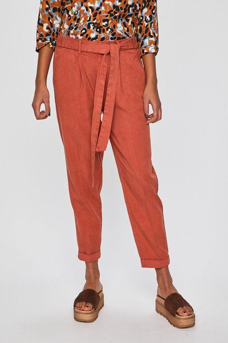 Spodnie damskie wiązane w pasie bordowe