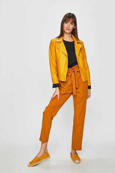 Spodnie damskie z podwyższonym stanem żółte