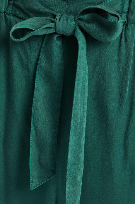 Spodnie damskie wiązane w pasie zielone