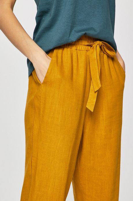 Spodnie damskie z domieszką lnu żółte
