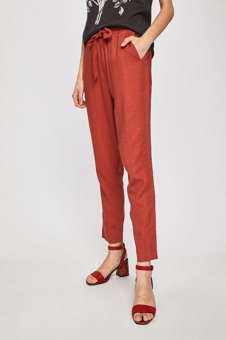 Spodnie damskie z domieszką lnu czerwone