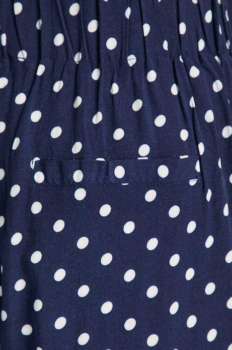 Spodnie damskie granatowe w grochy