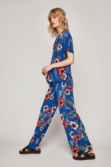 Spodnie damskie  z szerokimi nogawkami niebieskie