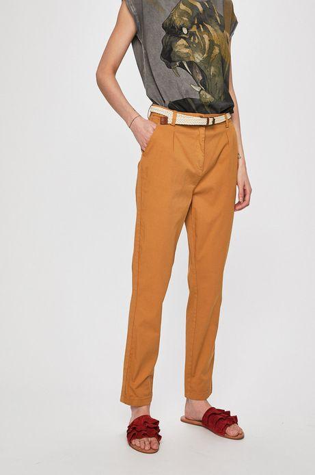 Spodnie damskie ze zwężaną nogawką brązowe