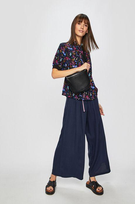 Spodnie damskie z szerokimi nogawkami granatowe