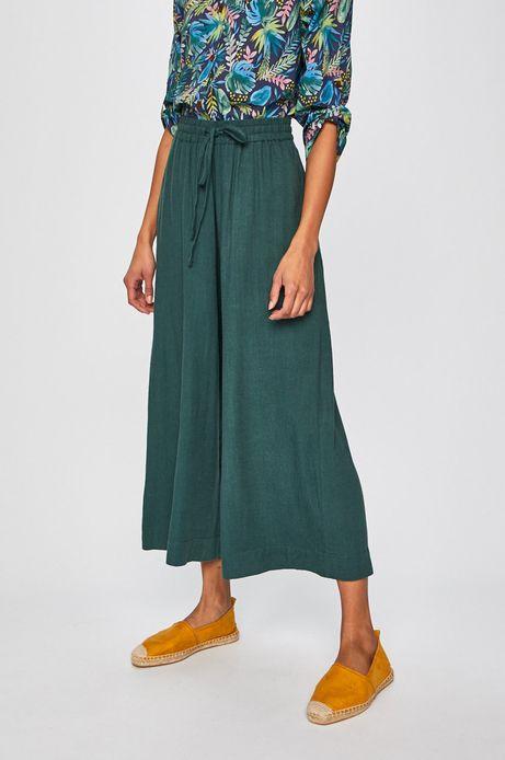 Spodnie damskie z domieszką lnu zielone