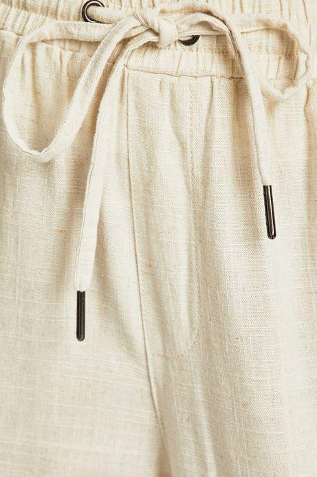 Spodnie damskie z domieszką lnu beżowe