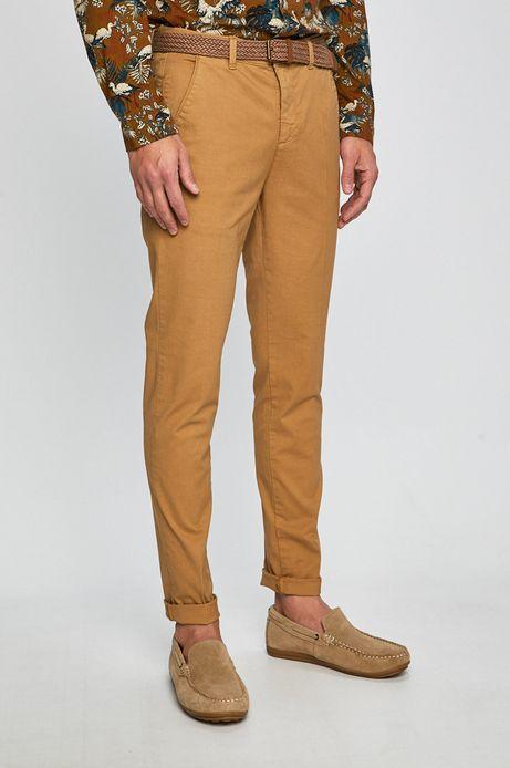 Spodnie męskie slim fit żółte
