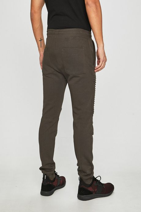 Spodnie męskie z przeszyciami zielone