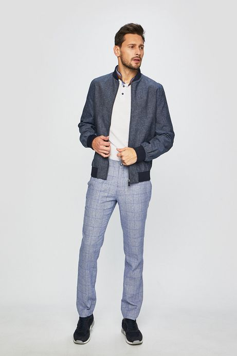 Spodnie męskie z domieszką lnu niebieskie