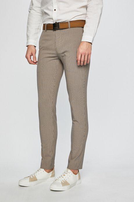 Spodnie męskie w kratkę beżowe