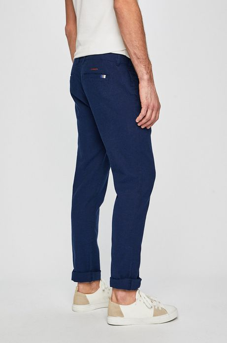Spodnie męskie lniane granatowe