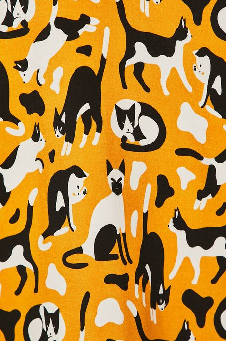 Sukienka damska w koty żółta