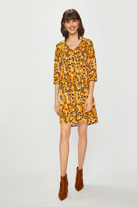 Sukienka damska o luźnym kroju żółta