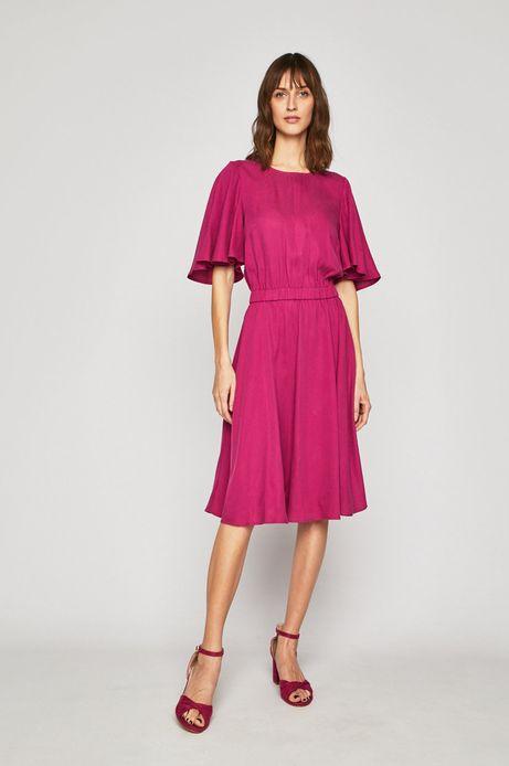 Sukienka damska rozkloszowana różowa