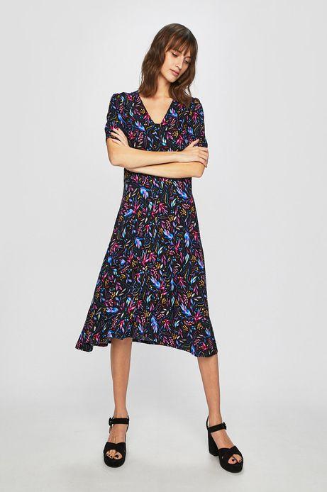 Sukienka damska ze spiczastym dekoltem wzorzysta