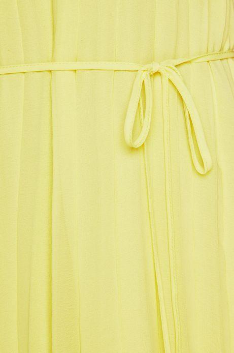 Sukienka damska wiązana w talii żółta