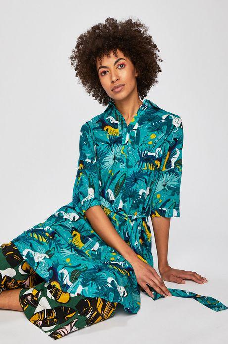 Sukienka damska wiązana w talii zielona