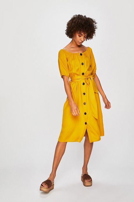Sukienka damska zapinana na guziki żółta