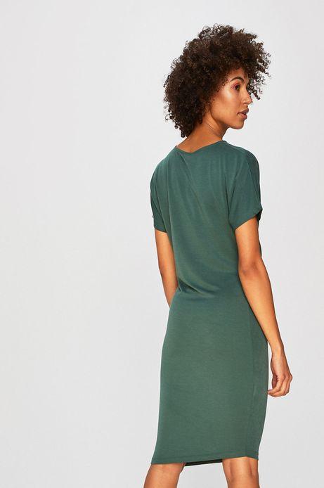 Sukienka damska z ozdobnym marszczeniem zielona
