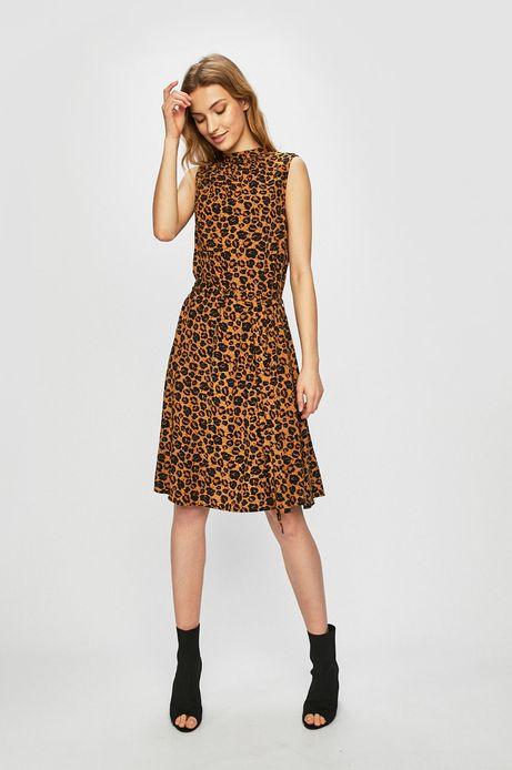 Sukienka damska z motywem zwierzęcym beżowa