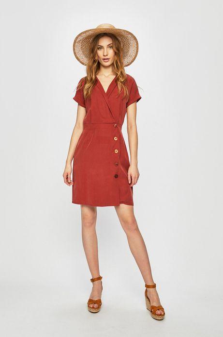 Sukienka damska z kopertowym dekoltem czerwona