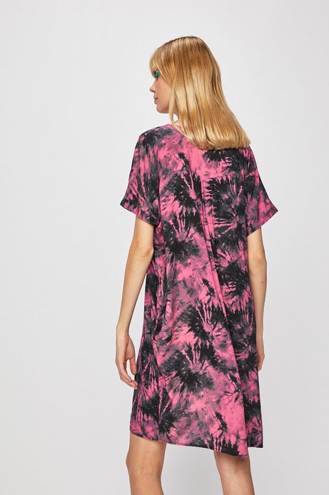 Sukienka damska z wzorzystej tkaniny różowa