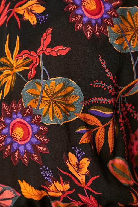 Sukienka damska z wzorzystej tkaniny czarna