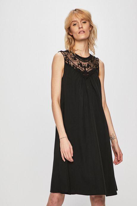 1d0bf9c67a Sukienka damska z koronkową wstawką czarna
