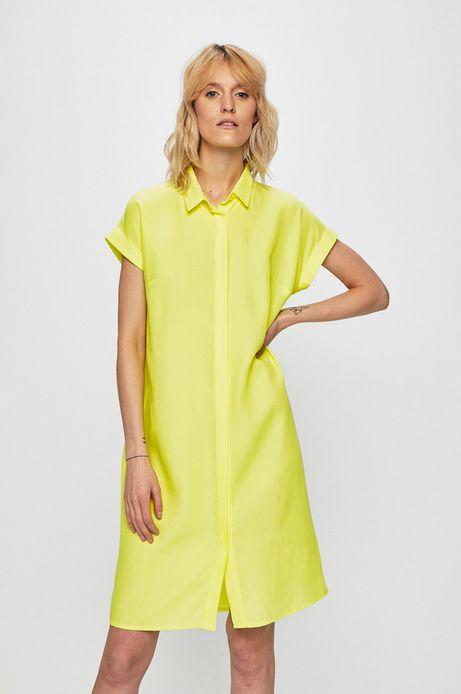 Sukienka damska z kołnierzykiem zielona
