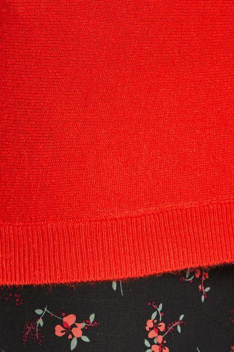 Sweter damski  z okrągłym dekoltem czerwony