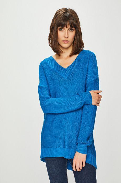 Sweter damski ze spiczastym dekoltem niebieski