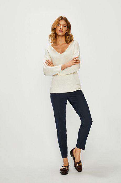Sweter damski z wiązaniem na plecach kremowy