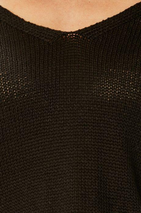 Sweter damski z wiązaniem na plecach czarny