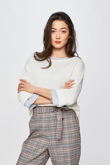 Sweter damski z rękawem 3/4 kremowy