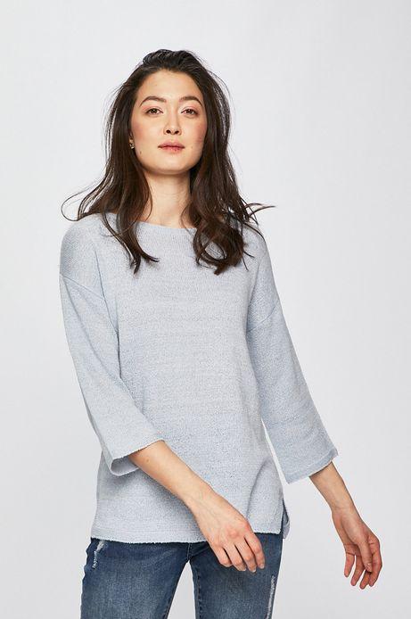 Sweter damski z rękawem 3/4 niebieski